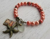 Orange Coral Glass Beaded Bracelet with Seaglass Charm