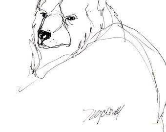 Black Bear drawing, blank greeting card from reproduction of pen and ink drawing by Mona Cordell