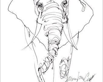Elephant, line drawing. greeting card from reproduction of original drawing by Mona Cordell