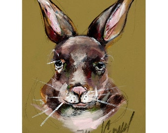 Rabbit, greeting card. Reproduction of original painting by Mona Cordell