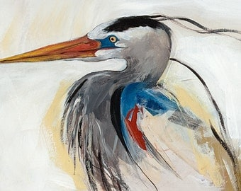 Blue Heron, blank greeting card. Image reproduction of original painting by Mona Cordell