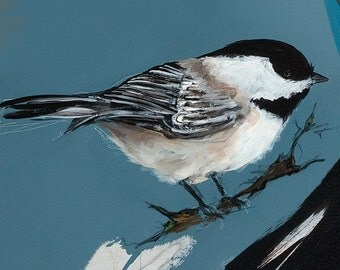 "Chickadee, greeting 5x7"" greeting card reproduction of original painting by Mona Cordell"