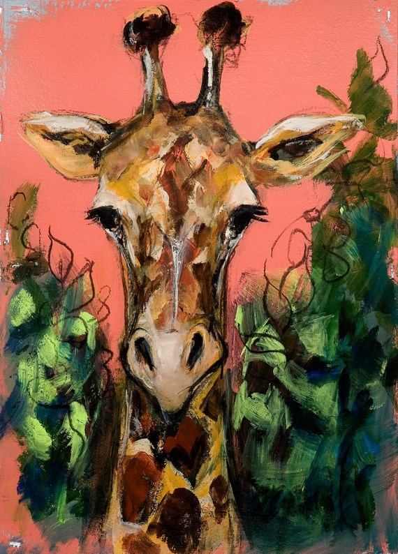 the tall gentle giraffe, a reproduction of the original image by Mona Cordell of MJCwildlifeart