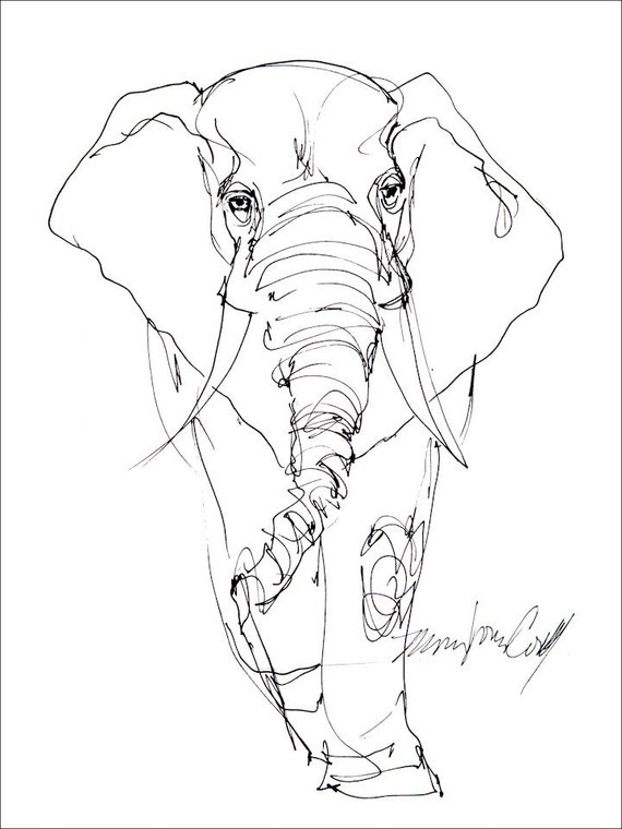 Line Drawing Elephant Face : Elephant line drawing greeting card from reproduction of