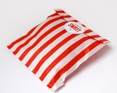25 red striped sweet shop paper bags with personalised monogram stickers
