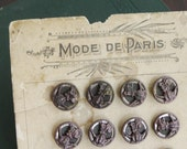 French Victorian Metal Buttons (24) on original card - great graphics C031