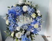 Floral wreath silk blue & white inspirational