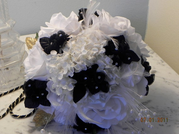 "Silk Bridal Bouquet, Unique, Keepsake, Black, White Gold, Roses, Hydrangeas,Feathers, jewels , ""Bountiful Bouquets.BB#112"
