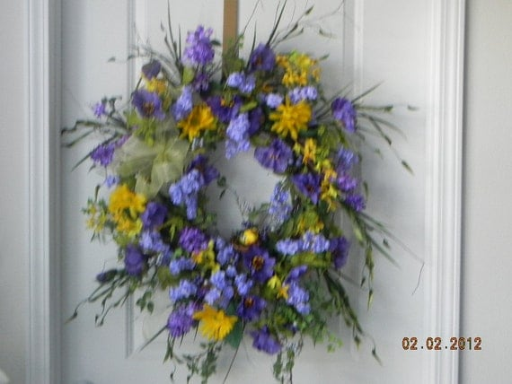 silk floral wreath  for any season  woodsy natural gift for any occasion indoors or out