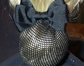 Black Equestrian Show Bow with Net Snood