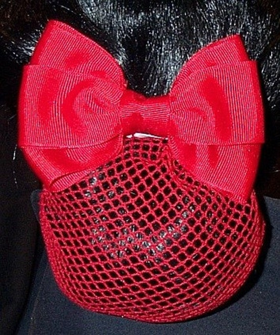 Red Grosgrain Hair Bow Barrette with Net Snood