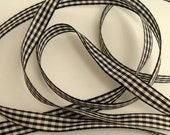 """3/8"""" Gingham Ribbon - Black and White - Checked Ribbon - Sewing Trims"""