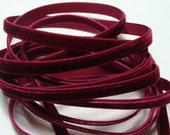 "1/4"" Velvet Ribbon in Wine - 5 yards"