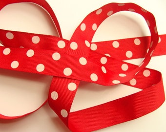 """7/8"""" Dotted Grosgrain Ribbon - Red with Ivory Dots"""