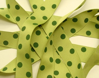 """7/8"""" Dotted Grosgrain Ribbon - Pear Green with Willow Green Dots"""
