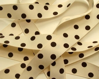 """7/8"""" Grosgrain Ribbon - Ivory with Chocolate Brown Dots"""
