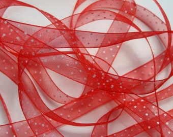 """3/8"""" Dotted Organza Ribbon - Red with White Dots - 5 yards"""