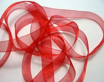 """5/8"""" Organza Ribbon - Red - 5 yards"""