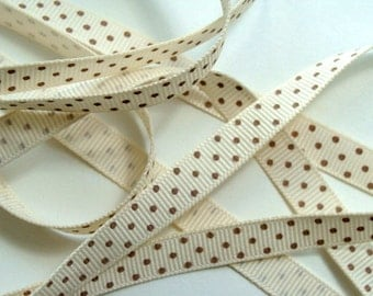"3/8"" Grosgrain Ribbon Swiss Dots - Ivory with Toffee Dots - 5 yds"