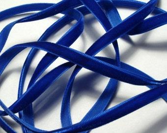 "1/4"" Velvet Ribbon - Royal Blue - 4 yards"