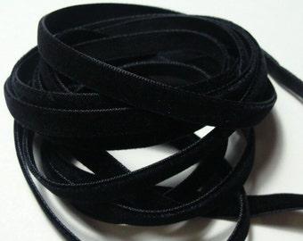 """1/4"""" Velvet Ribbon - Black - 5 yards"""