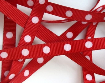 "3/8"" Dotted Grosgrain Ribbon - Red with White Dots - 5 yards"