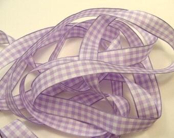 "5/8"" Gingham Ribbon - Lavender - 25 yard Spool"
