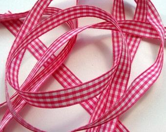 """3/8"""" Gingham Ribbon - Shocking Pink and White - 5 yards"""