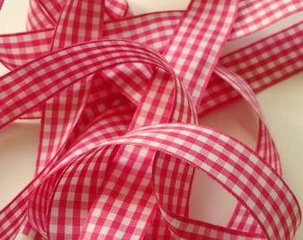 """7/8"""" Gingham Ribbon - Shocking Pink and White - 5 yards"""