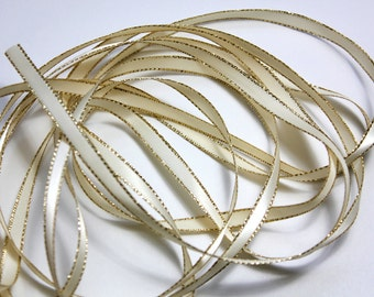 "1/4"" Ivory Satin Ribbon with a Gold Lurex Edge - 50 yard spool"