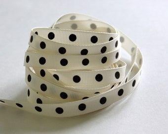 """3/8"""" Dotted Grosgrain Ribbon - Ivory with Brown Dots - 5 yards"""