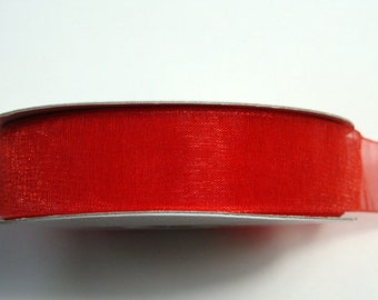 "5/8"" Organza Ribbon - Red - 25 or 50 yard spool"