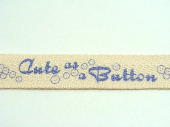 "CLEARANCE SALE - 3 yds 5/8"" Cotton Twill Tape - Cute as a Button - Blue"