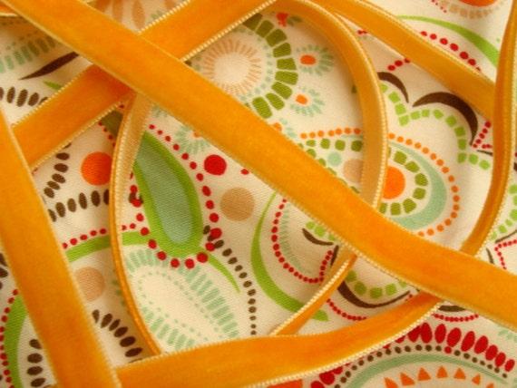 """3/8"""" Velvet Ribbon - Orange - 5 yards"""