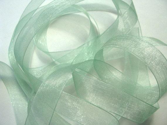 "5 yds 5/8"" Organza Ribbon - Mint Green"