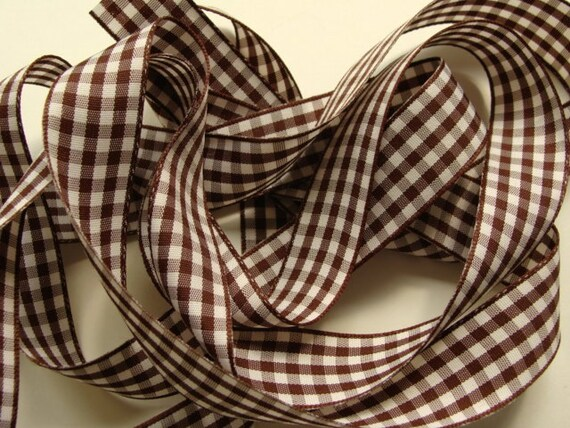"""5 yds of 7/8"""" Gingham Ribbon - Cappuccino Brown and White"""