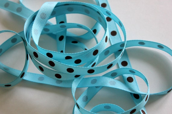 "3/8"" Dotted Grosgrain Ribbon - Turquoise with Brown Dots - 5 yards"