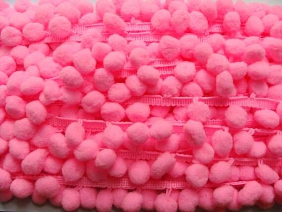 Pom Pom Ball Fringe Pink