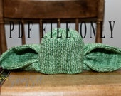 Yoda hat  - pattern only - knit hat with ears - newborn to 3 month size