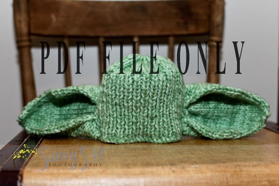 Knitting Pattern For Yoda Hat : Yoda hat pattern only knit hat with ears by SunnySHPhotography