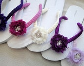Bridesmaid Flip Flops - Shabby Chic Roses - Custom Color