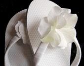 Bridal Flip Flops - White Hydrangea - Johanna