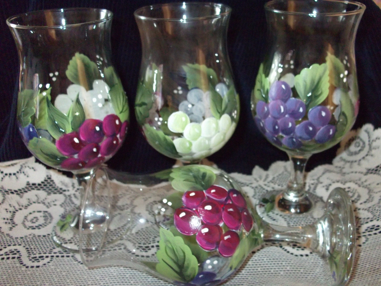 Hand painted wine glasses for Hand painted wine glasses