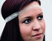 The Classic Lace Headband, beautiful strand of lace, simple, delicate, elastic closure, Bohoemian Lace, Boho