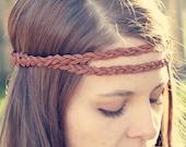 The Boho Band, Double Strand Bohemian Braid Headband in Cognac, Indie, elastic closure, Braided Headband, Bohemian Style