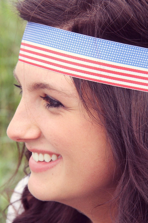 SALE Red White and Bluetiful, Fourth of July Headband, Bohemian flag Headband, Holidays