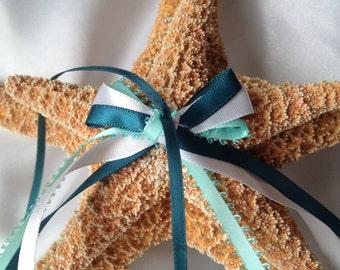 Beach Destination Wedding Starfish Ring Bearer Pillow Alternative in Teal, White & Aqua (or fully customizable)