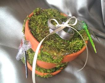 Rustic Woodland Wedding Ring Bearer Pillow Alternative w/ Mossy Terra Cotta Garden Pot & Dragonflies