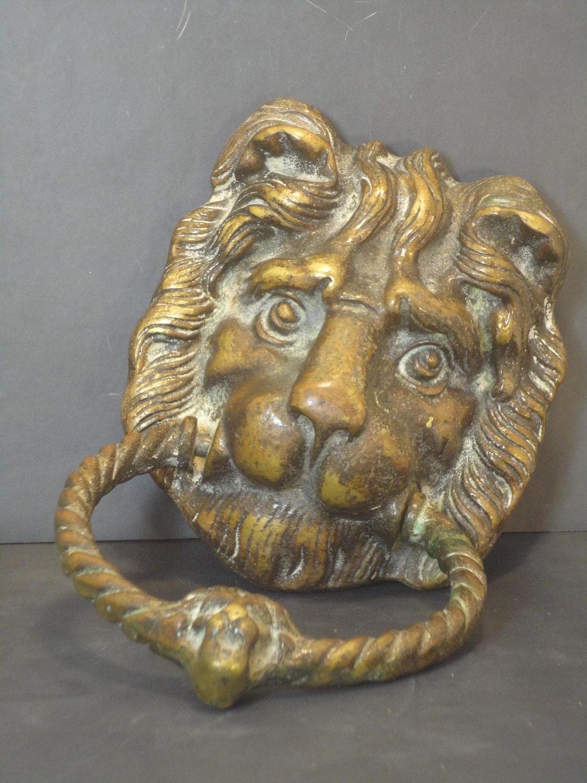 Vintage brass door knocker lion head by missmaudvintage on etsy - Lion face door knocker ...