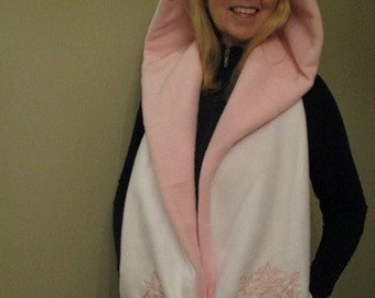 White/Light Pink Hooded Scarf with Pockets